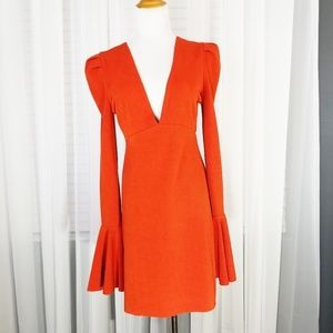 Free People Sz S Dress Mini  Orange Long  Sleeved